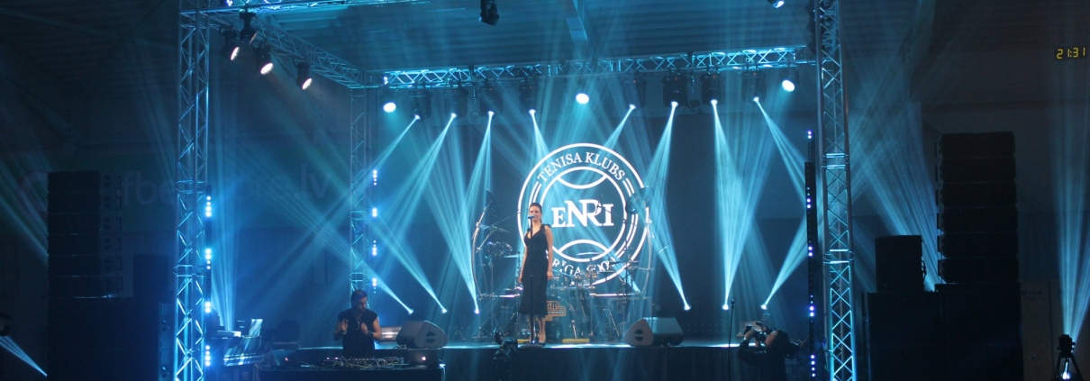 Light equipment for teniss hall opening event in Riga
